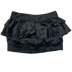 A'gaci Black Peplum Mini Skirt Satin